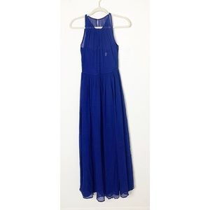 Blue J Crew SZ 2 Halter Silk Chiffon Megan Dress